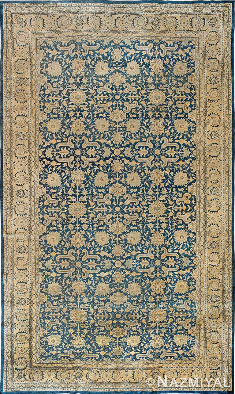 Large Antique Blue Persian Tabriz Area Rug 90038 by Nazmiyal Antique Rugs