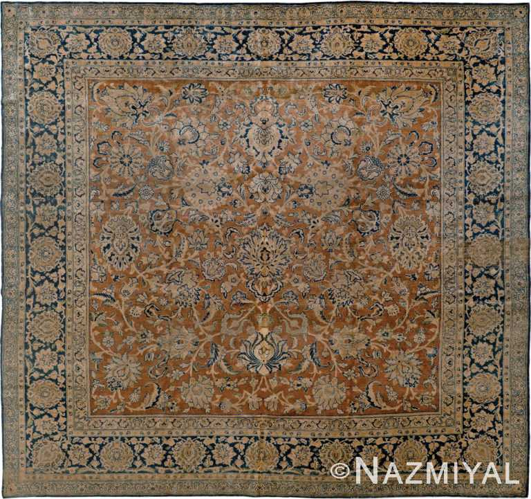 Neutral and Blue Square Antique Persian Tabriz Area Rug #90037 by Nazmiyal Antique Rugs