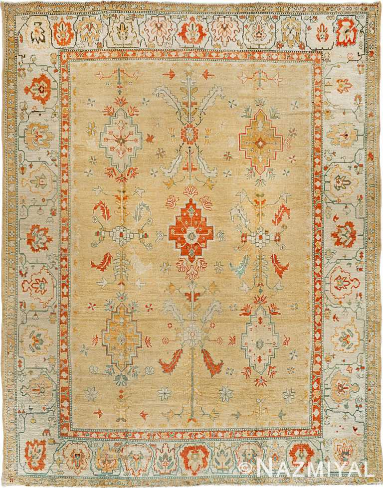 Soft Color Decorative Room Size Antique Turkish Oushak Rug #90000 by Nazmiyal Antique Rugs