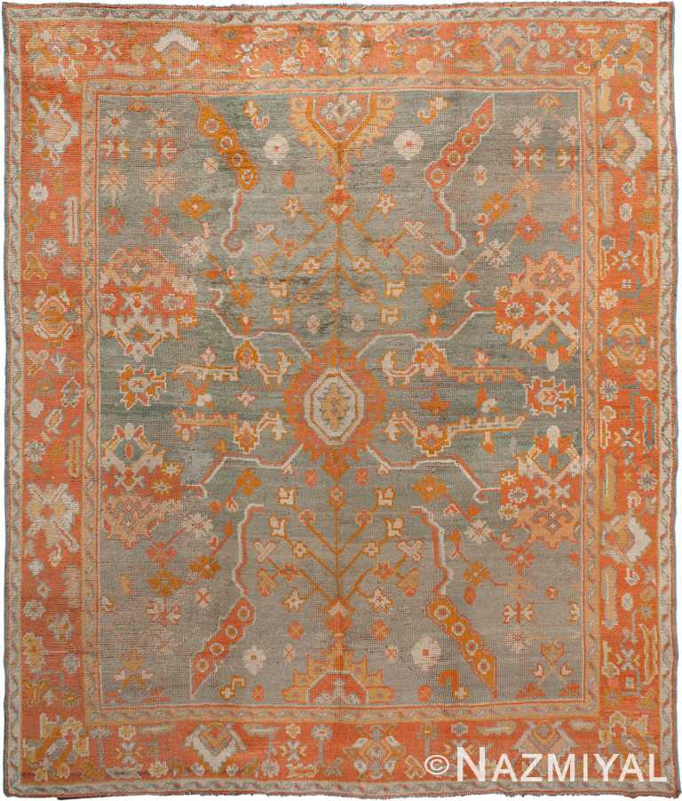 Antique Soft Grey Blue Turkish Oushak Area Rug #90001 by Nazmiyal Antique Rugs