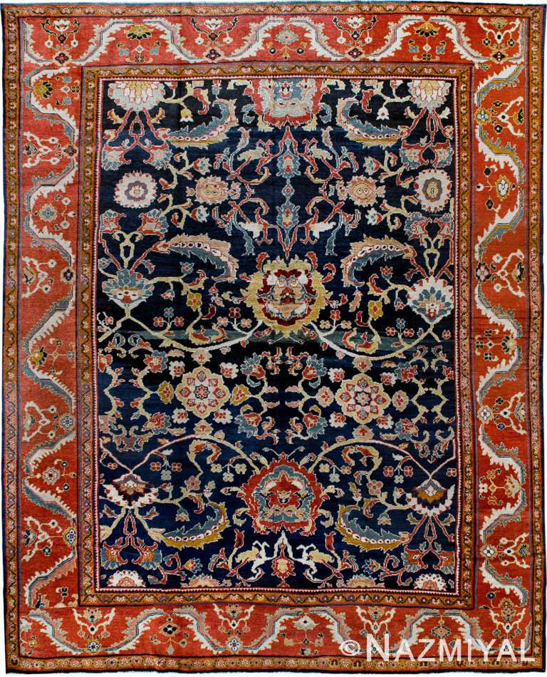Blue Antique Persian Sultanabad Rug 90013 by Nazmiyal Antique Rugs