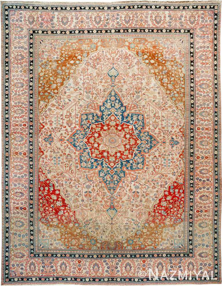 Fine Antique Persian Mohtashem Kashan Rug 90008 by Nazmiyal Antique Rugs