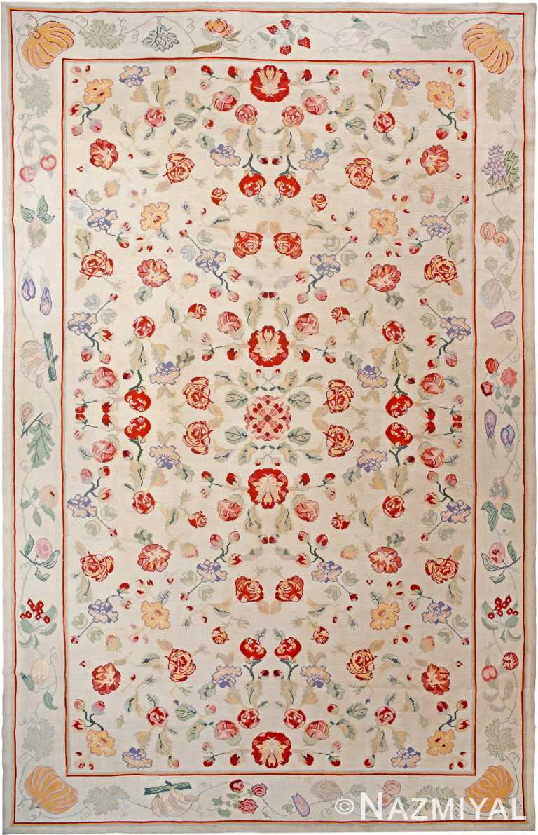 Floral Antique Portuguese Needlepoint Rug 90017 by Nazmiyal Antique Rugs