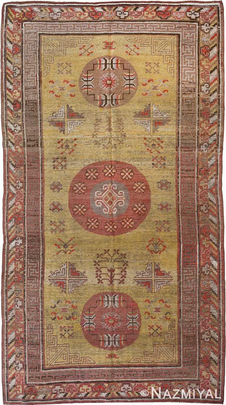 Gold Antique Khotan Rug 90014 by Nazmiyal Antique Rugs