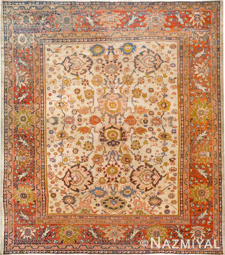 Ivory Antique Persian Sultanabad Rug 90011 by Nazmiyal Antique Rugs