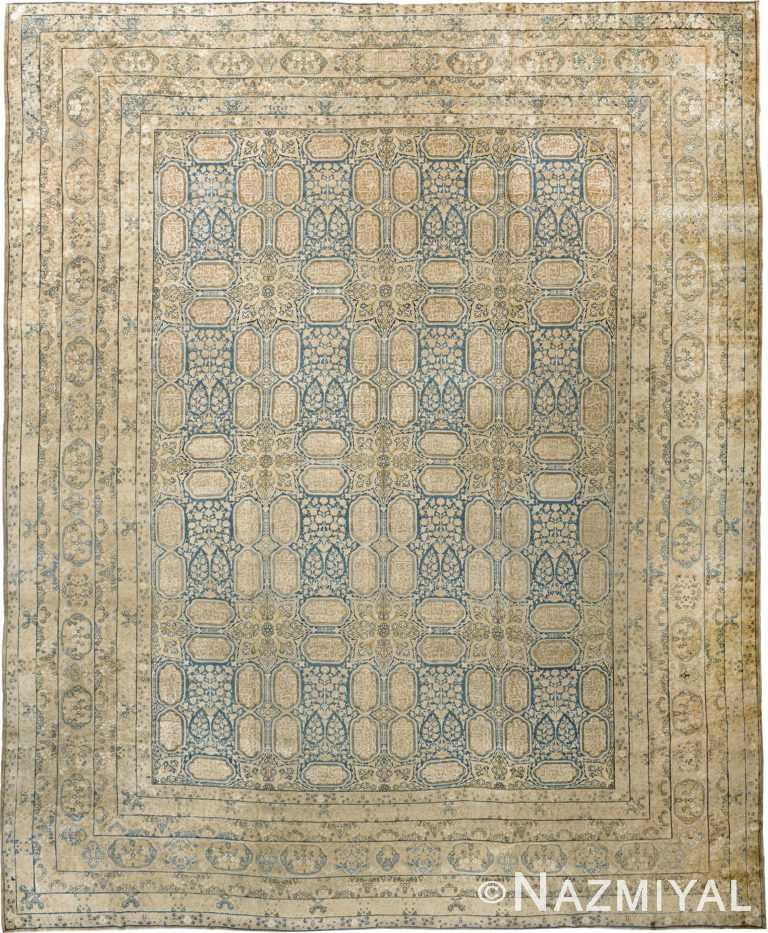 Light Blue Antique Persian Kerman Rug 90015 by Nazmiyal Antique Rugs