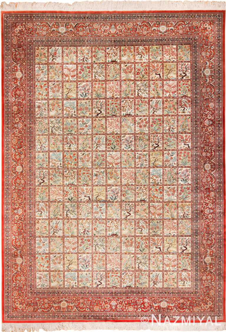 Silk Room Size Persian Qum Rug 70253 by Nazmiyal NYC