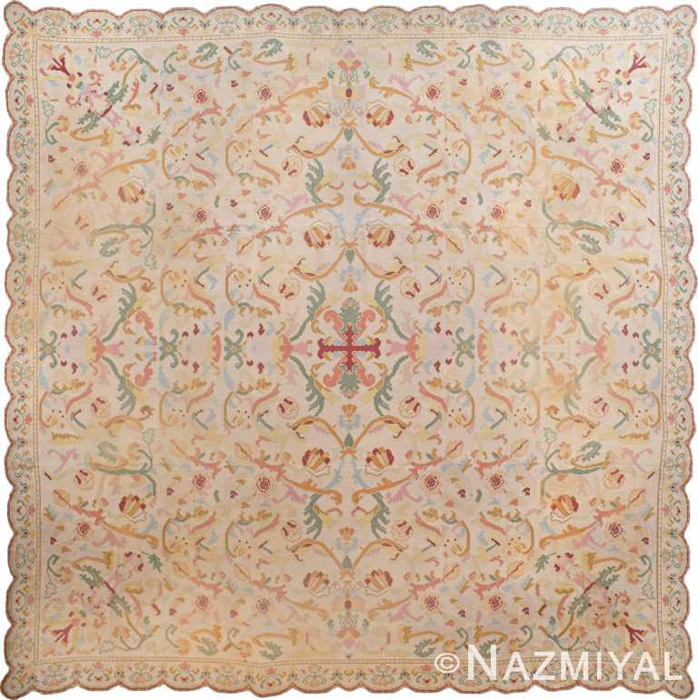 Square Antique Portuguese Needlepoint Rug 90016 by Nazmiyal Antique Rugs