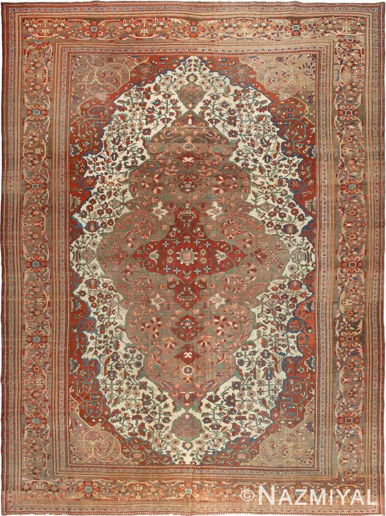 Room Size Antique Persian Sarouk Farahan Area Rug #90045 by Nazmiyal Antique Rugs