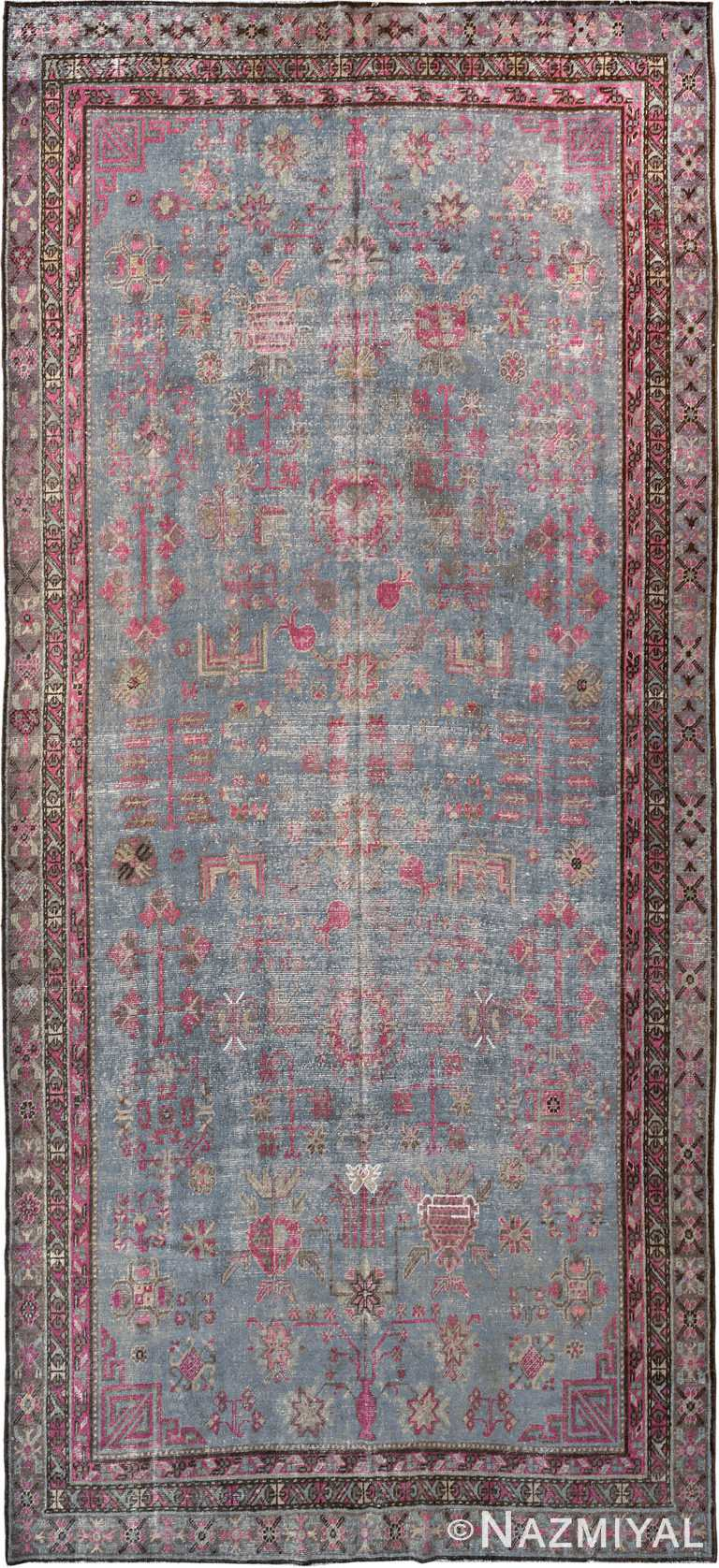 Antique Blue And Purple Shabby Chic Khotan Rug #90048 by Nazmiyal Antique Rugs