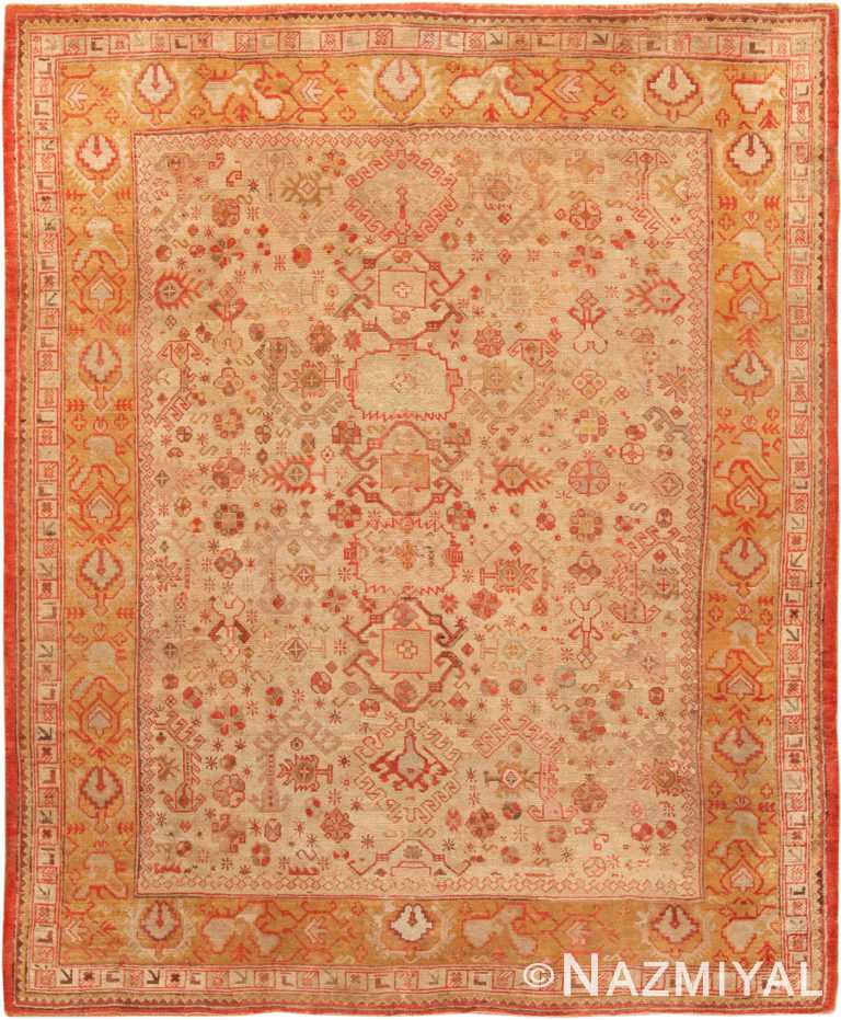 Antique Oushak Turkish Rug 70317 by Nazmiyal NYC