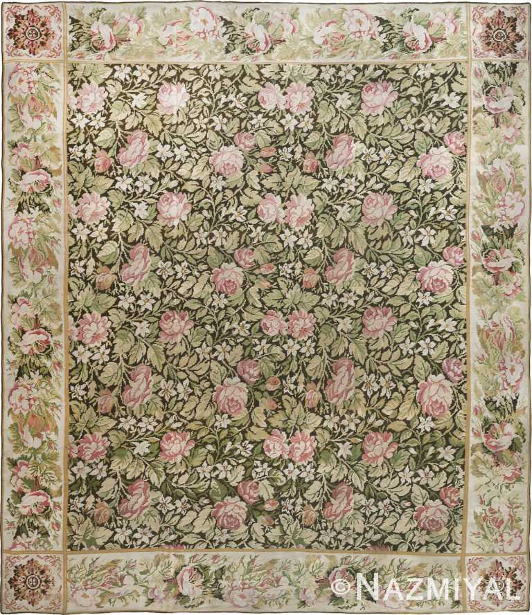 Green Antique Floral Romanian Room Size Bessarabian Kilim Rug #90053 by Nazmiyal Antique Rugs