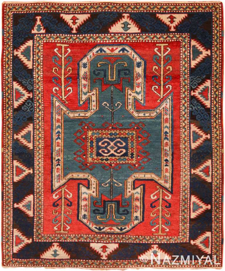 Vintage Tribal Kazak Caucasian Rug 70302 by Nazmiyal NYC