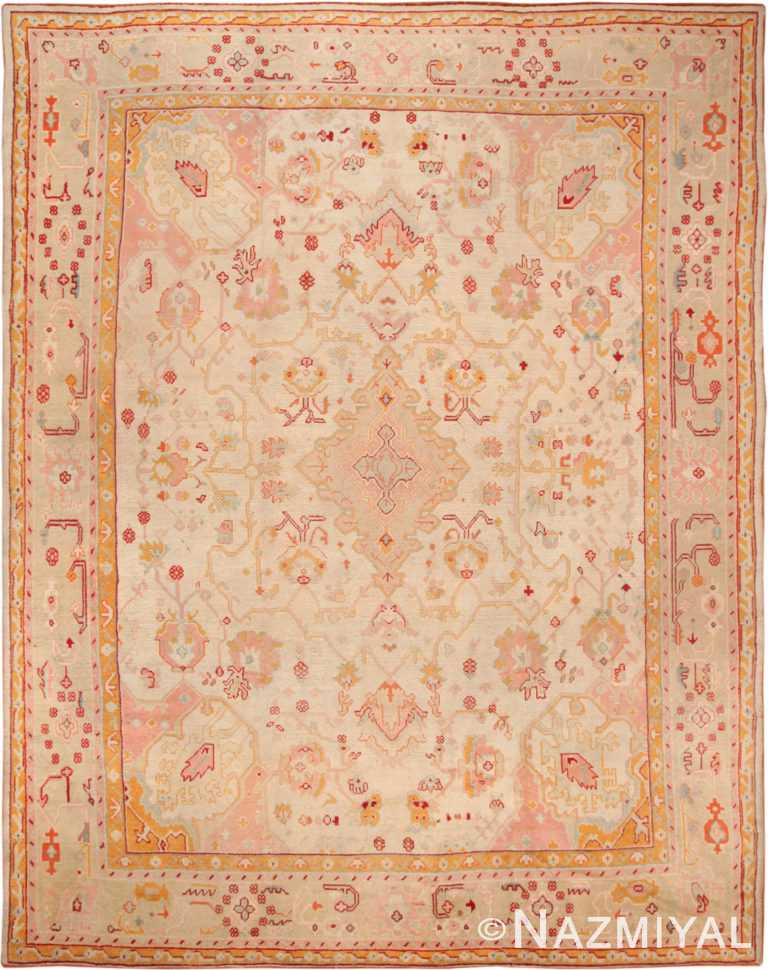 Antique Turkish Oushak Rug 49691 by Nazmiyal NYC