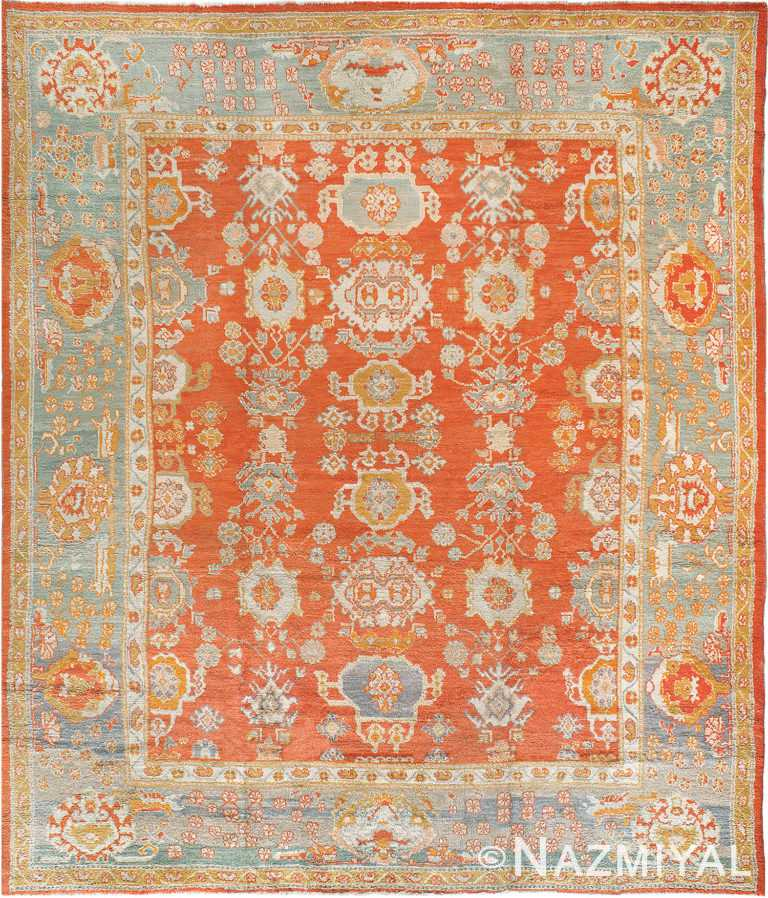 Rusty Red Antique Turkish Oushak Room Size Area Rug 90043 by Nazmiyal Antique Rugs