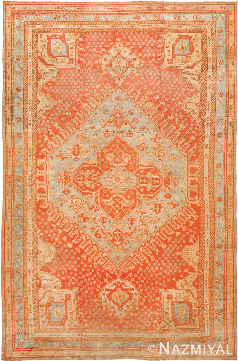 Large Antique Turkish Oushak Rug 90041 by Nazmiyal NYC