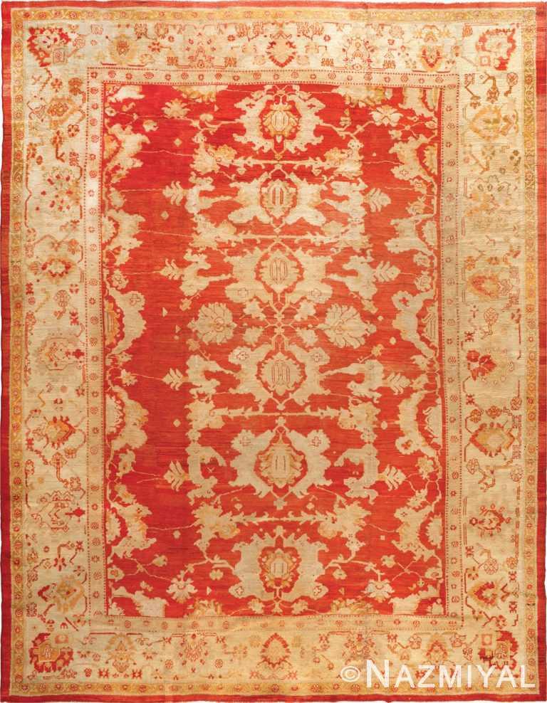 Large Red Antique Tribal Turkish Oushak Rug #90042 by Nazmiyal Antique Rugs