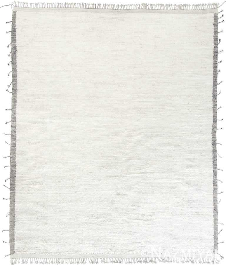 Soft Solid White Field Modern Plush Boho Chic Rug #142745438 by Nazmiyal Antique Rugs