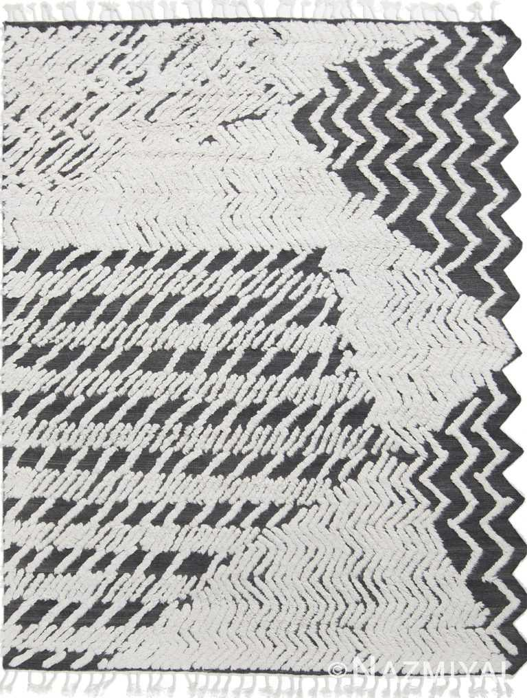 Modernist Black and White High Low Wool Pile Rug #172785471 by Nazmiyal Antique Rugs