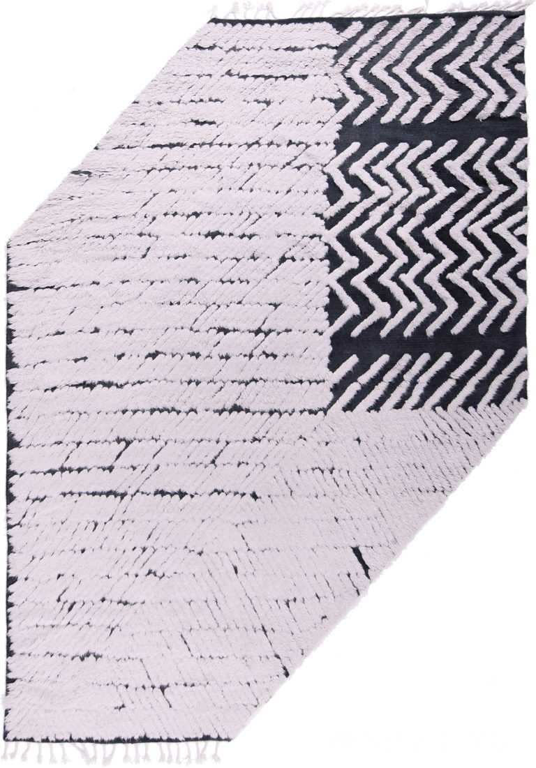 Modernist White And Black High Low Pile Modern Rug #172786639 by Nazmiyal Antique Rugs