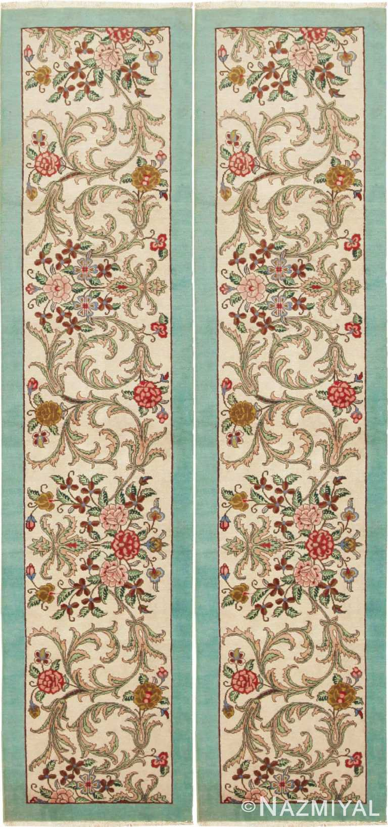 Pair Of Vintage Floral Persian Tabriz Runner Rugs 44738-44739 by Nazmiyal NYC