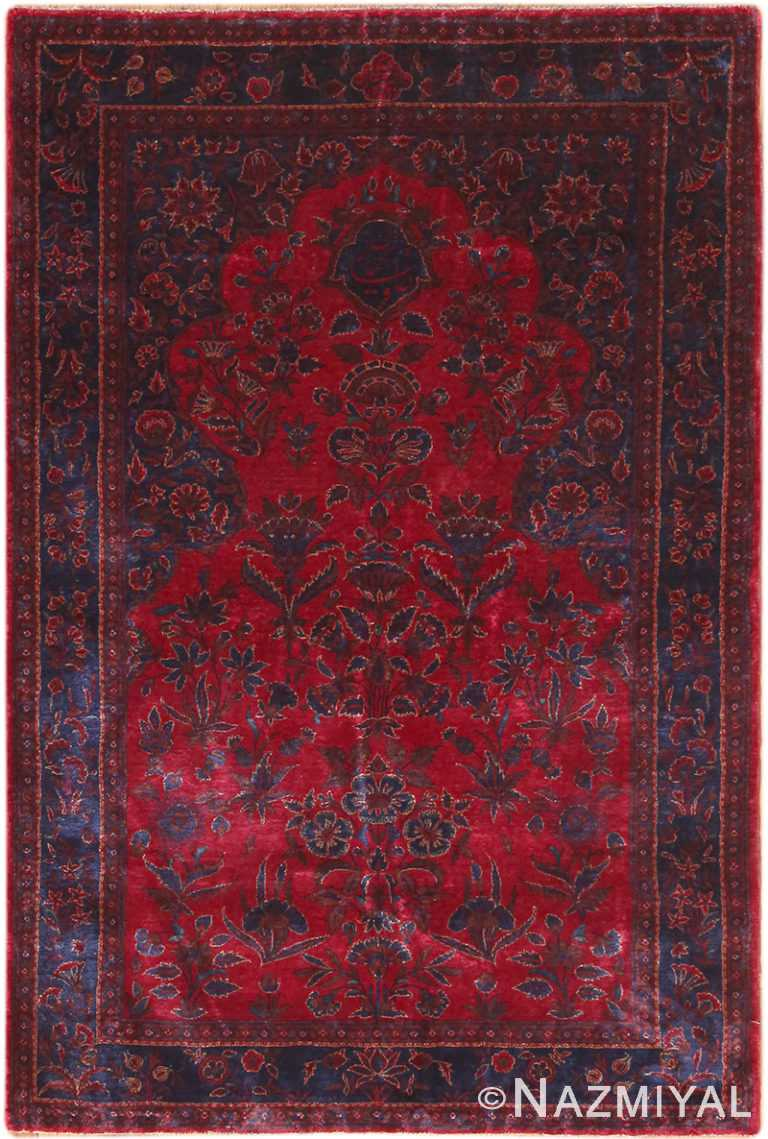 Antique Silk Kashan Prayer Rug 49251 by Nazmiyal NYC