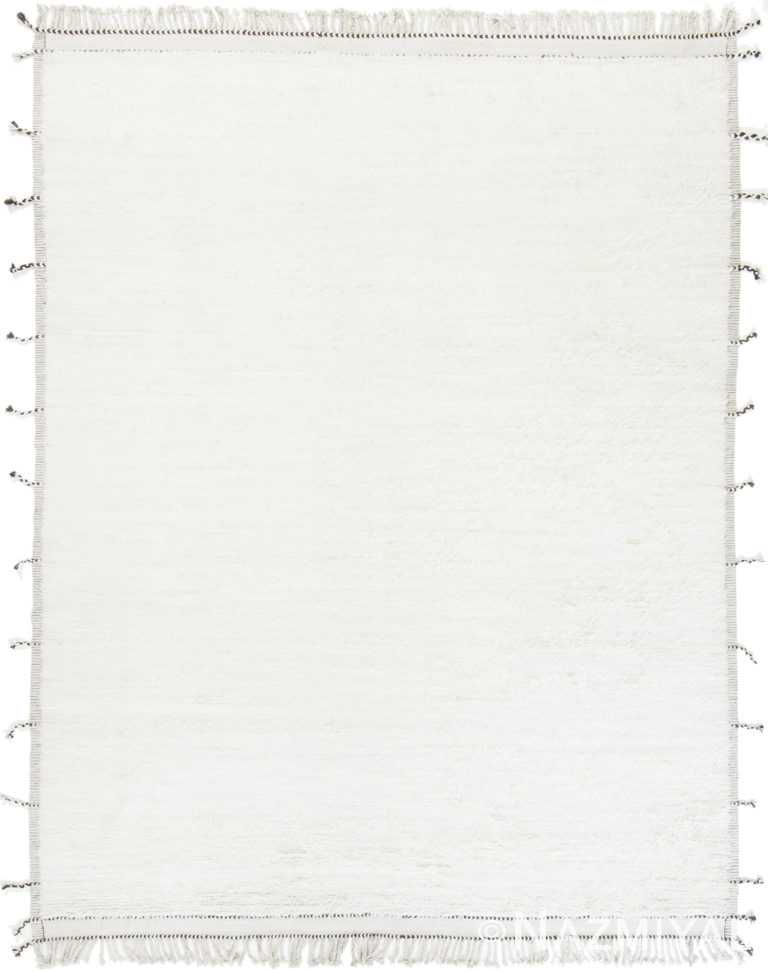 Solid White Plush Pile Contemporary Modern Boho Chic Rug #142778804 by Nazmiyal Antique Rugs