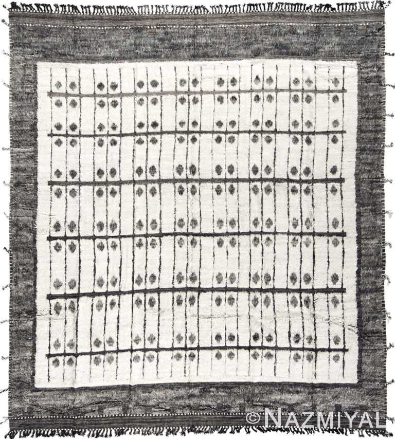 Tribal Design White and Gray Modern Boho Chic Wool Rug #142794124 by Nazmiyal Antique Rugs