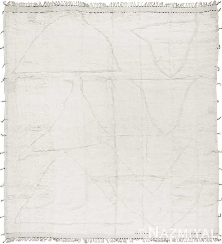 Primitive Design White Modern Boho Chic Area Rug #14279517 by Nazmiyal Antique Rugs