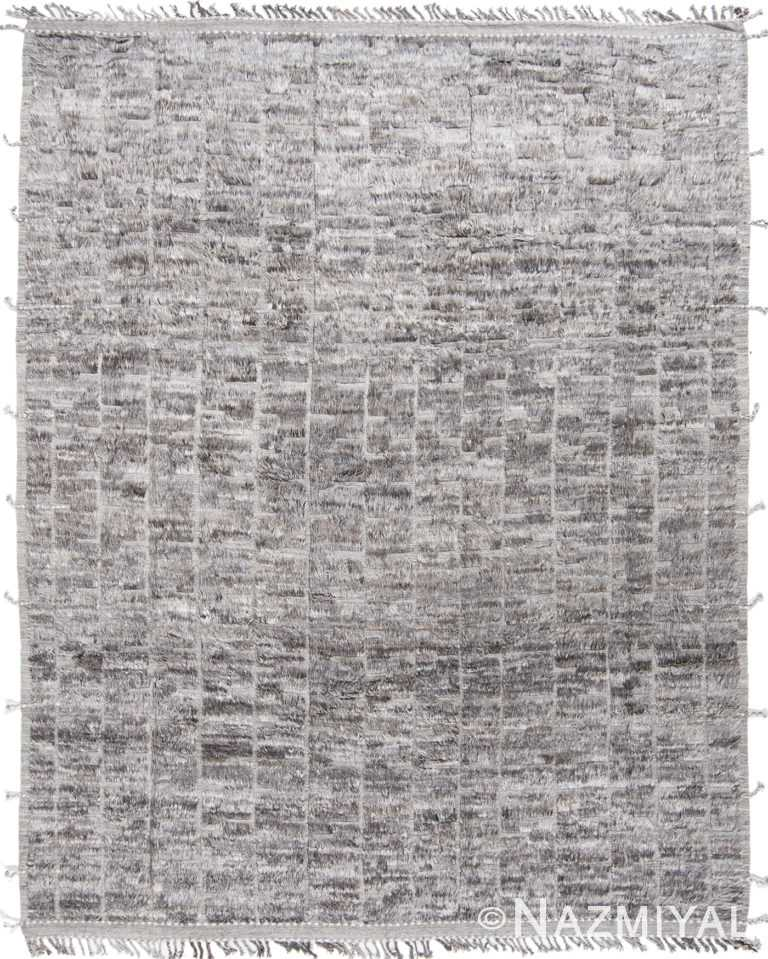 Grid Design Soft Gray Modern Boho Chic Plush Wool Pile Rug #142795781 by Nazmiyal Antique Rugs