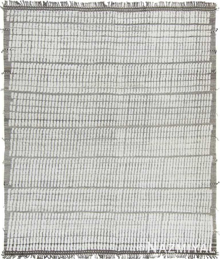 Geometric Soft Gray and White Modern Boho Chic Rug #142815387 by Nazmiyal Antique Rugs