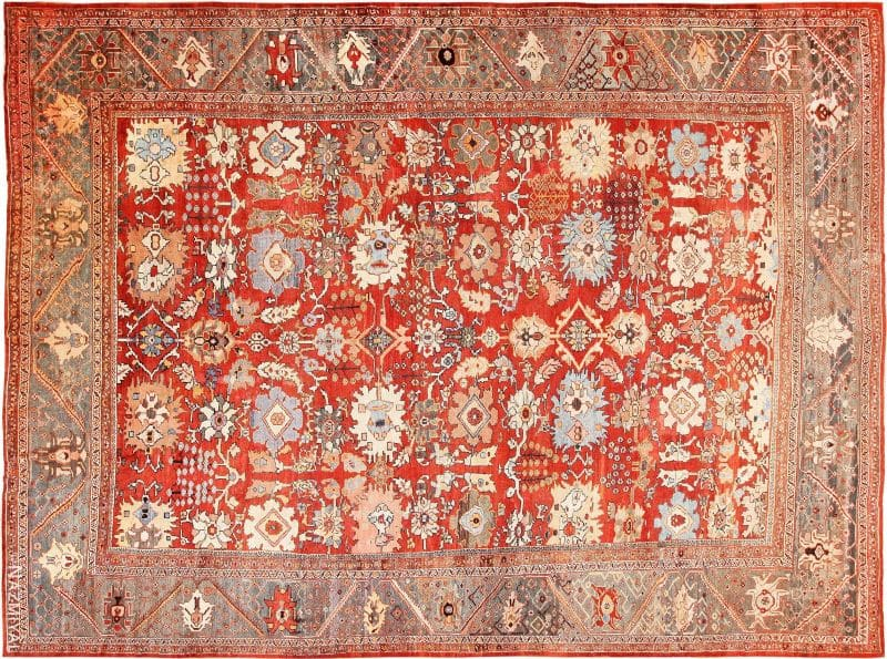 Large Rustic Antique Persian Sultanabad Carpet Nazmiyal