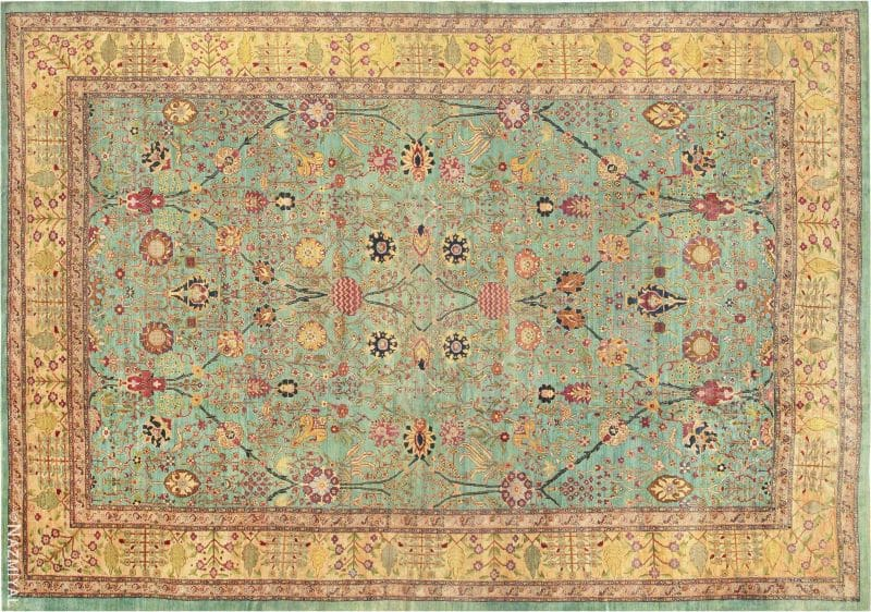 Large Oversized Seafoam Color Antique Indian Agra Rug Nazmiyal