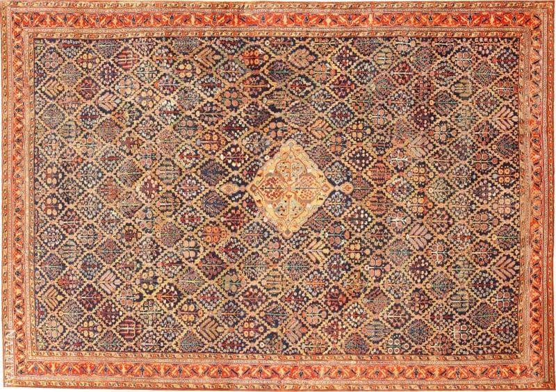 Large 18th Century Rare Antique Kurdish Shrub Design Rug Nazmiyal