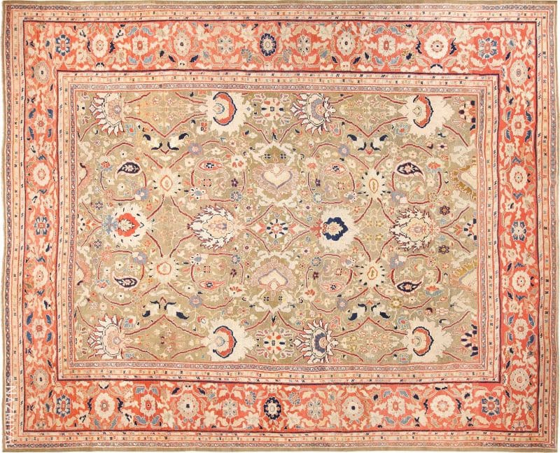 Large Antique Ziegler Sultanabad Persian Rug Nazmiyal