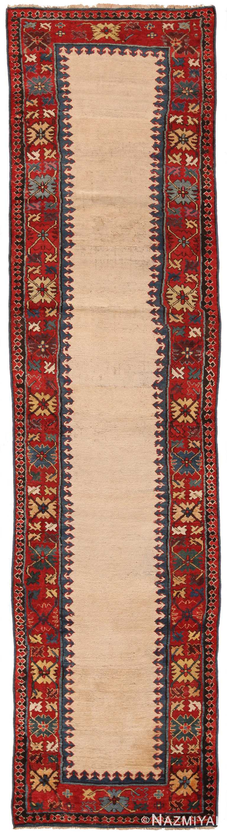Antique Caucasian Moghan Runner Rug 70170 by Nazmiyal NYC