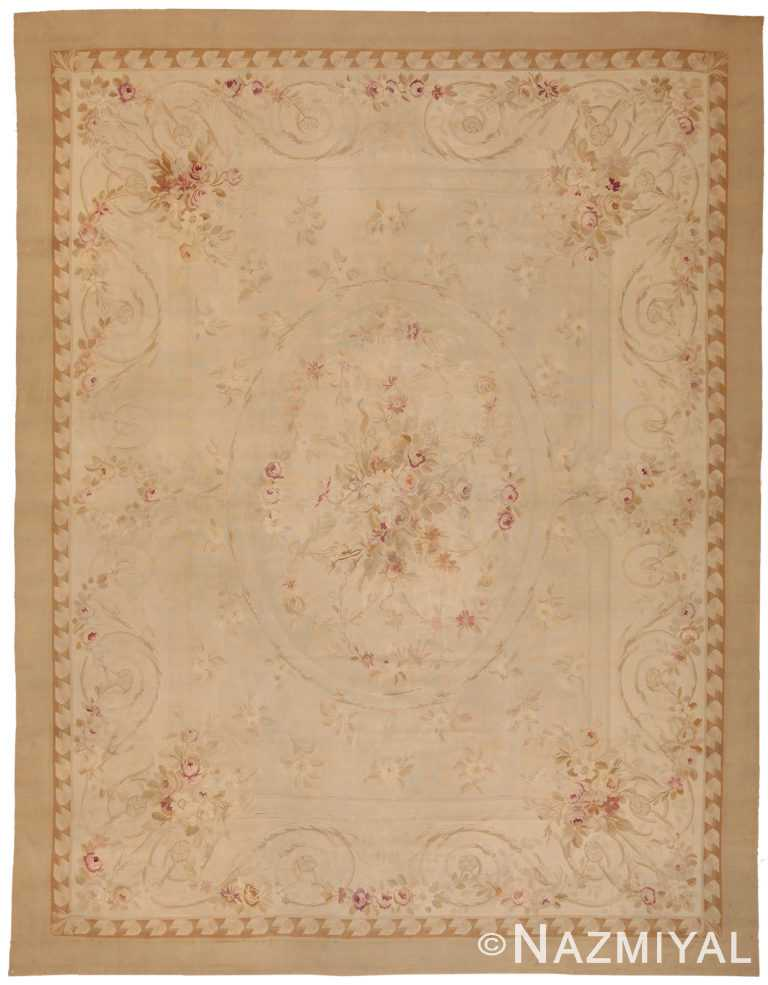 Antique Ivory French Aubusson Rug 70392 by Nazmiyal NYC
