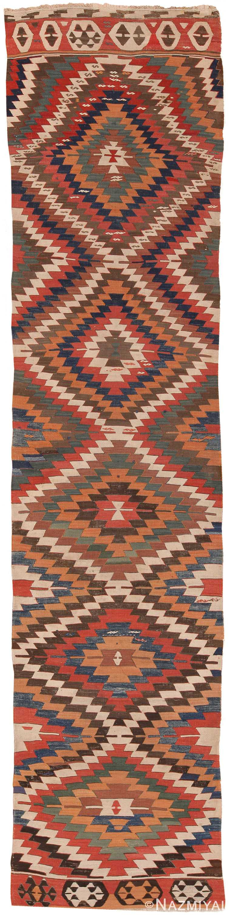 Antique Tribal Caucasian Kilim Runner Rug 70393 by Nazmiyal NYC