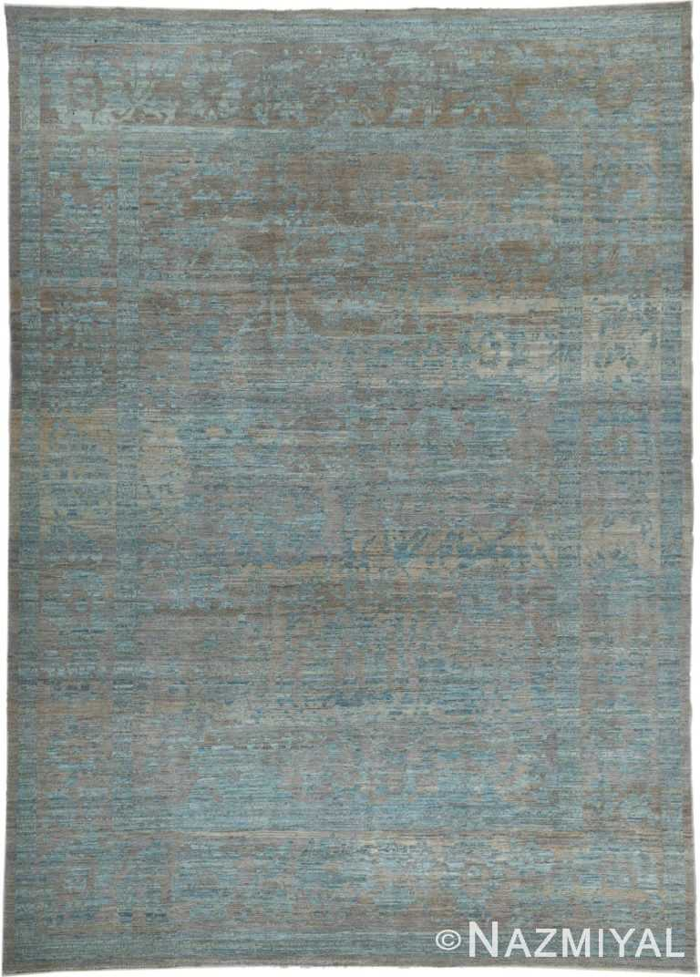 Soft Earth Tone Color Modern Oushak Room Size Rug #60078 by Nazmiyal Antique Rugs