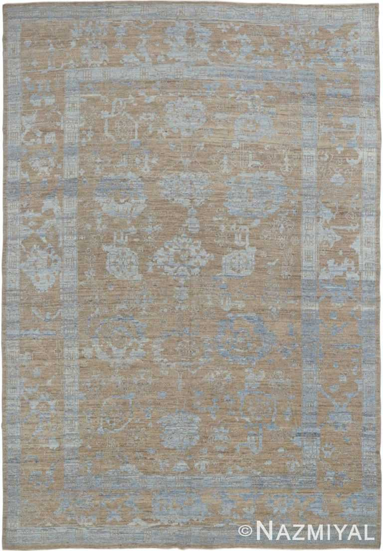 Light Brown And Blue Modern Oushak Turkish Area Rug #60079 by Nazmiyal Antique Rugs