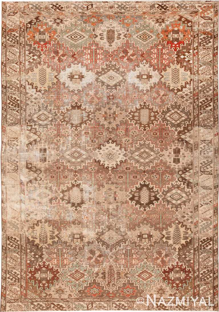 Shabby Chic Garden Design Antique Persian Rug 70435 by Nazmiyal NYC