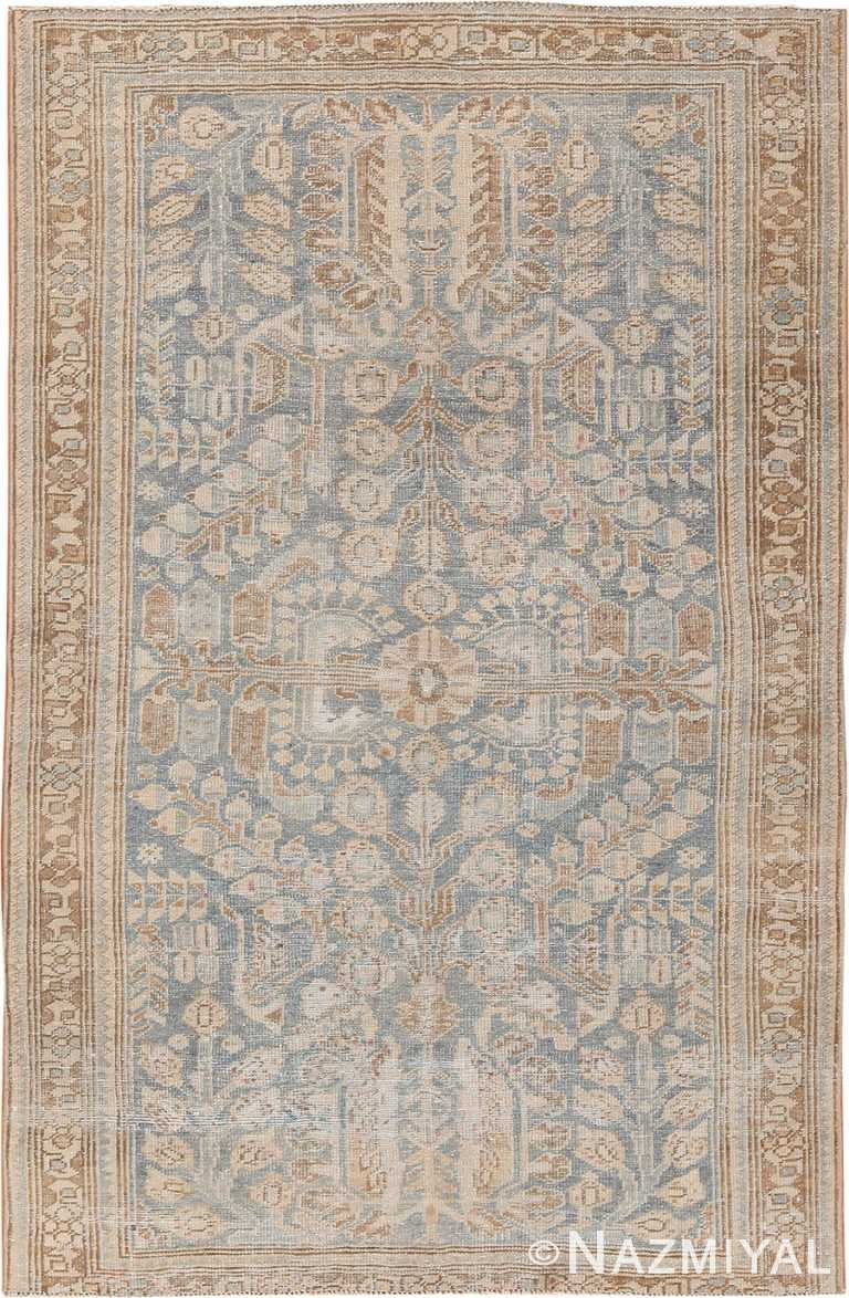 Small Light Blue Antique Persian Malayer Rug 70442 by Nazmiyal NYC