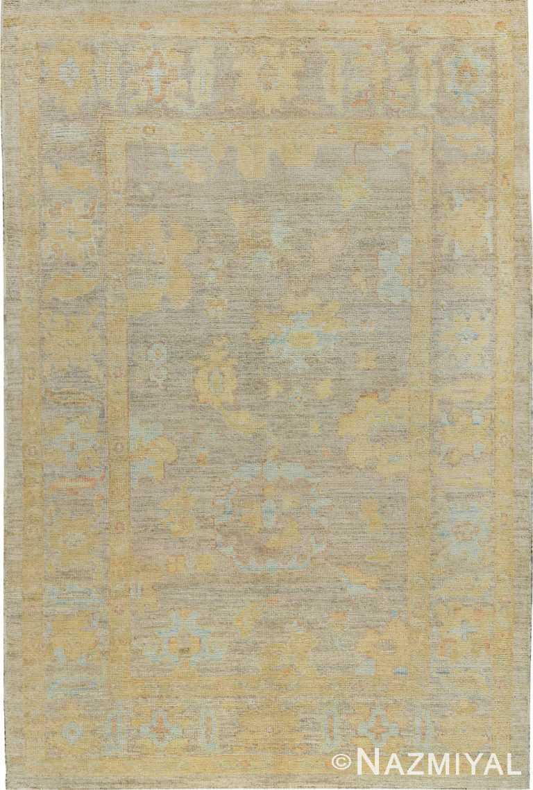 Soft Decorative Color Modern Turkish Oushak Rug #60477 by Nazmiyal Antique Rugs