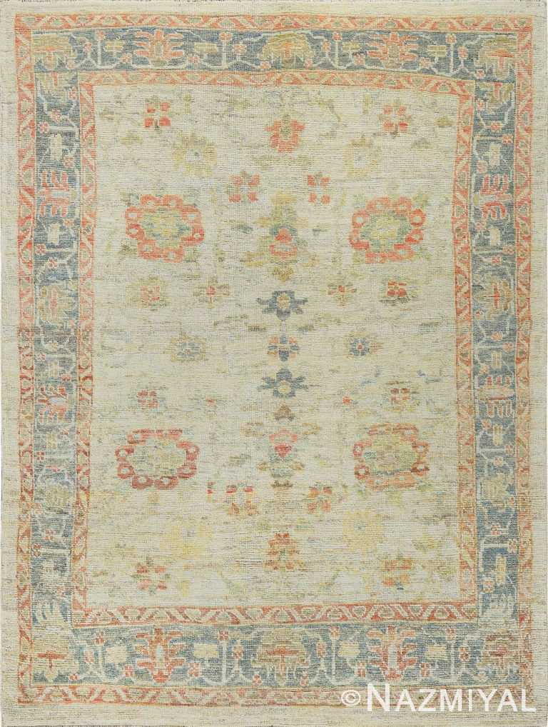 Ivory And Light Blue Modern Turkish Oushak Area Rug #60478 by Nazmiyal Antique Rugs