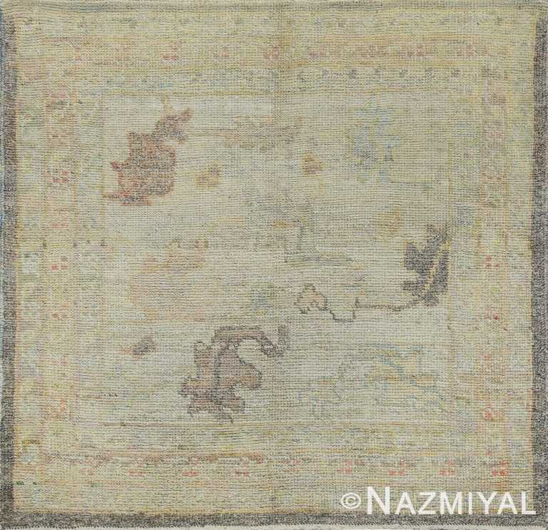 Small Square Neutral Modern Turkish Oushak Rug #60481 by Nazmiyal Antique Rugs