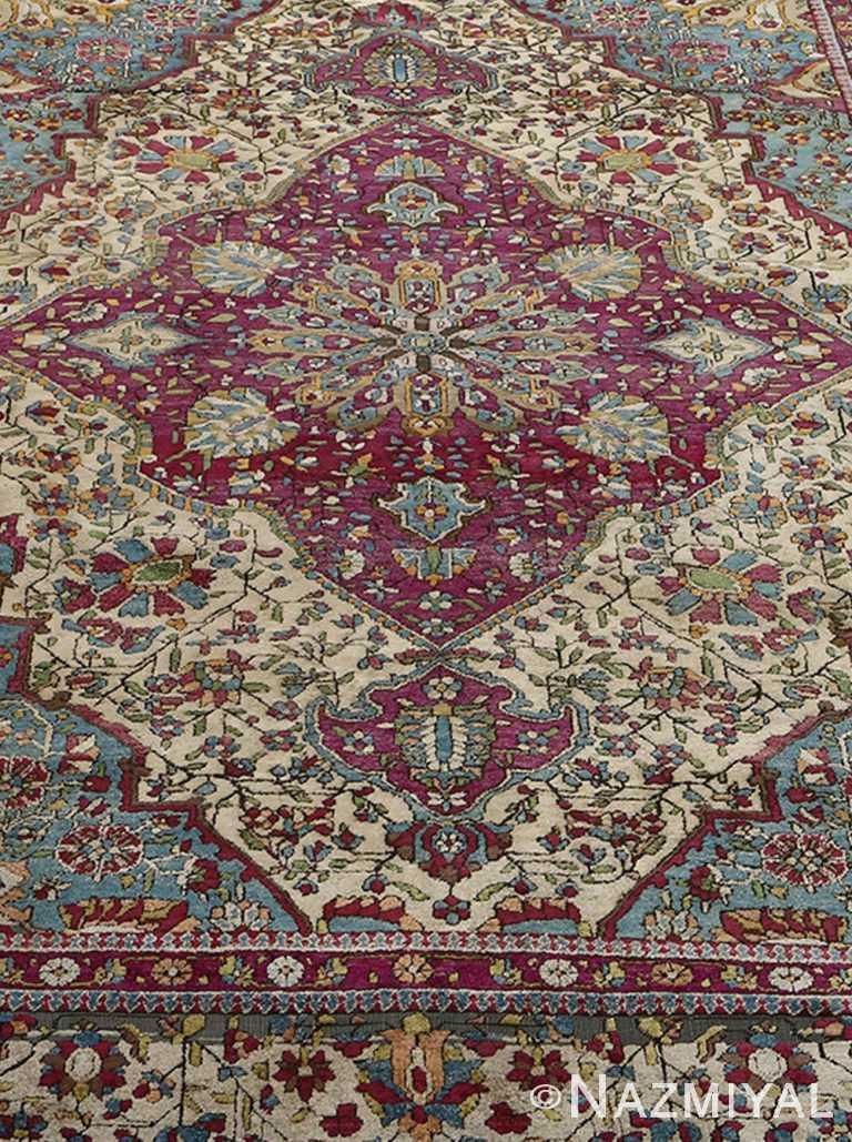 Close Up Antique Silk Mohtasham Kashan Persian Rug 51168 by Nazmiyal NYC