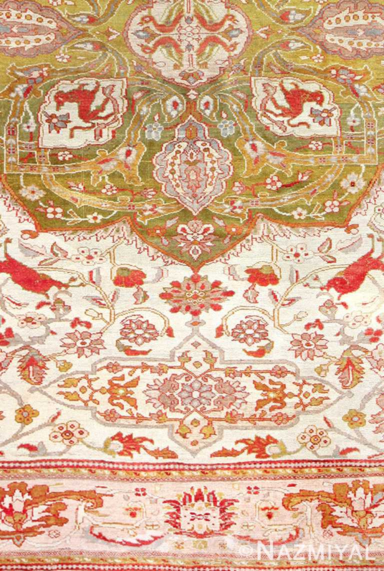 Close Up Antique Animal Motif Ziegler Sultanabad Persian Rug 49532 by Nazmiyal NYC