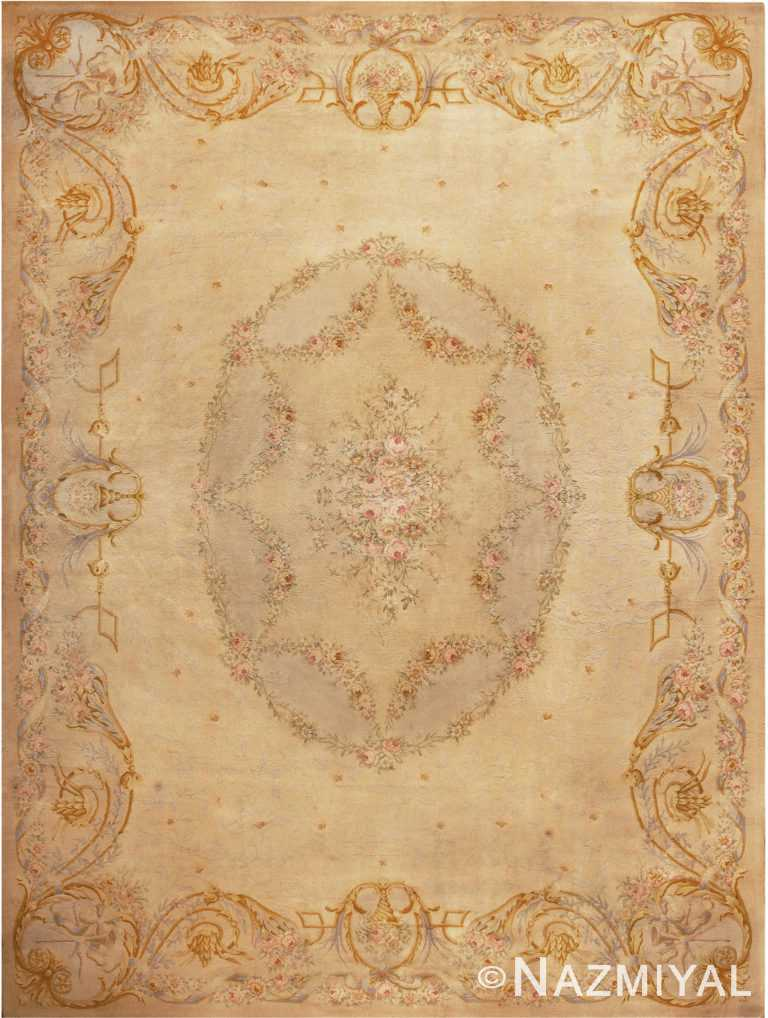 Large Floral Antique French Savonnerie Carpet 49848 by Nazmiyal NYC