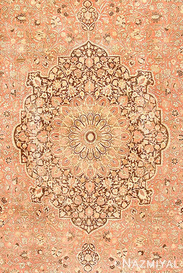 Center Of Dusty Rose Antique Persian Tabriz Rug 50456 by Nazmiyal NYC