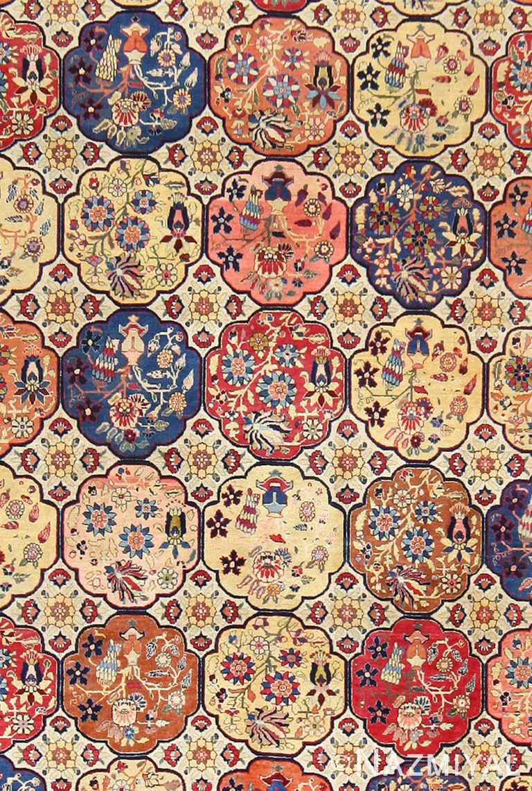 Close Up Antique Persian Floral Design Tabriz Carpet 48580 by Nazmiyal NYC